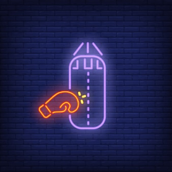Neon icoon van bokstraining