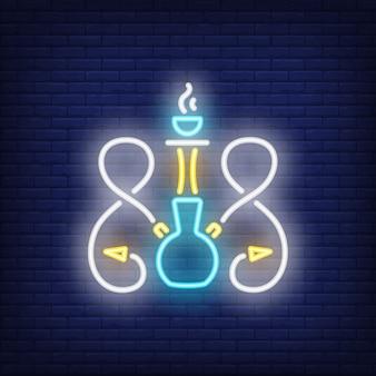 Neon icoon van waterpijp met twee slangen