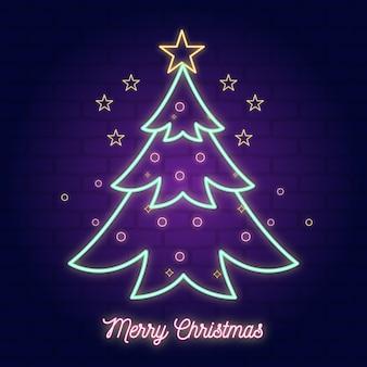 Neon illustratie kerstboom