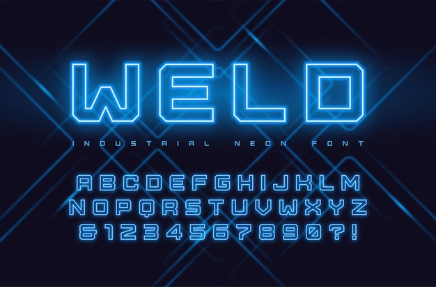 Neon industriële stijl display lettertype, lettertype, alfabet, typografie. wereldwijde stalen
