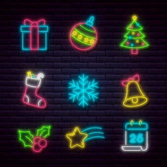 Neon kerst element collectie