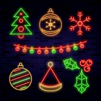 Neon kerst element collectie