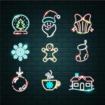 Neon kerst element ingesteld
