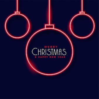 Neon kerstballen decoratie achtergrond