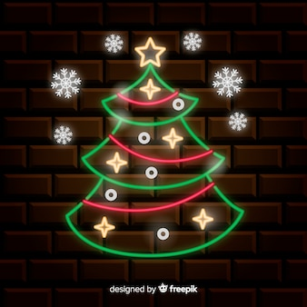 Neon kerstboom achtergrond