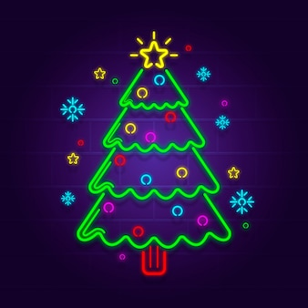 Neon kerstboom illustratie