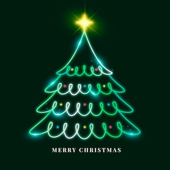 Neon kerstboom illustratie