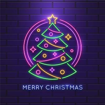 Neon kerstboom met versieringen
