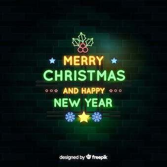 Neon kerstmisachtergrond en gelukkig nieuwjaar