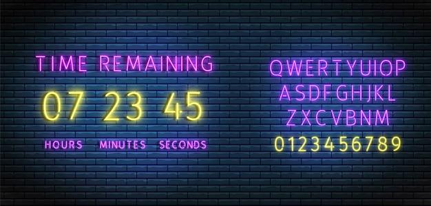 Neon klok teller. countdown timer met lettertype. resterende tijd aan boord. verlichte digitale aftelling.