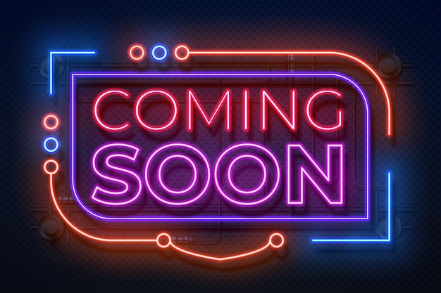 Neon komt binnenkort teken. film kondigt badge, nieuw gloeiend element voor winkelpromotie, neonlichtbanner aan. binnenkort teken