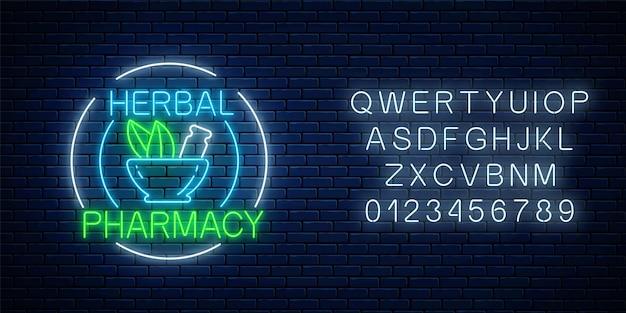 Neon kruidenapotheek teken in cirkelframes met alfabetg. natuurlijke medicijnen slaan gloeiend reclamesymbool op.