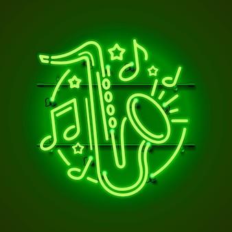 Neon label muziek jazz banner.