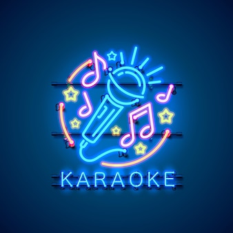 Neon label muziek karaoke banner.