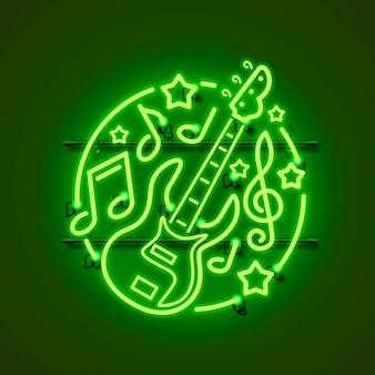 Neon label muziek rock banner.