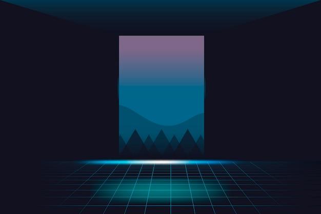 Neon landschap achtergrond