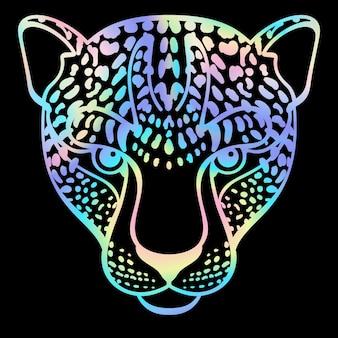 Neon leopard t-shirt en textiel mode print holografisch modern dierenpatroon