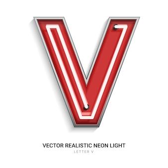 Neon letter v
