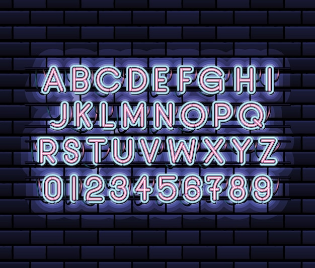 Neon lettertype alfabet en cijfers van roze en blauwe kleur op donkerblauw afbeelding ontwerp