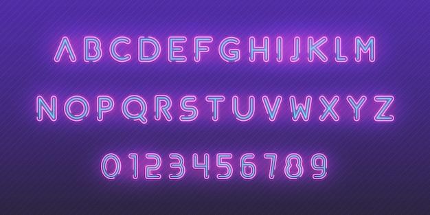 Neon lettertype alfabet. gloeiende neon gekleurde 3d moderne alfabet en cijfers tekens lettertype