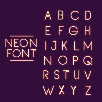 Neon lettertype alfabet pictogram