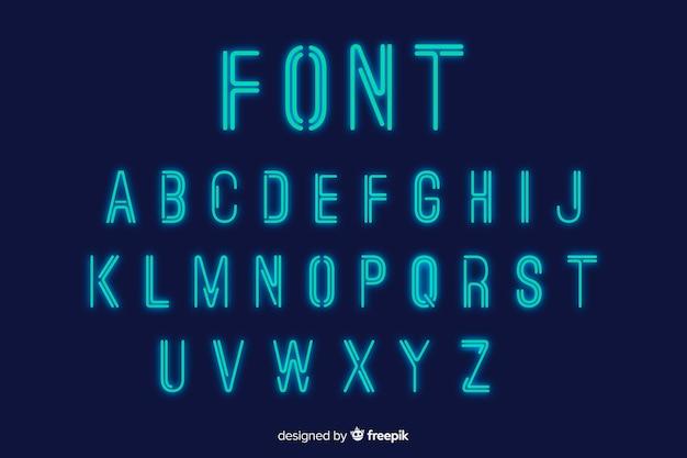 Neon lettertype sjabloon plat ontwerp