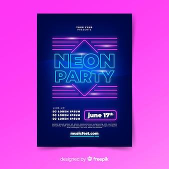 Neon licht muziek poster sjabloon