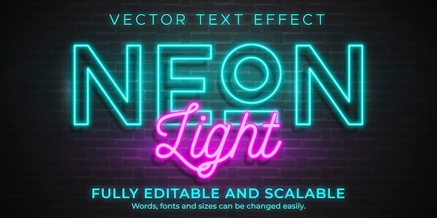 Neon licht teksteffect sjabloon
