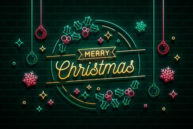 Neon licht vrolijk kerstfeest groet