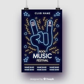 Neon lichten muziek poster sjabloon