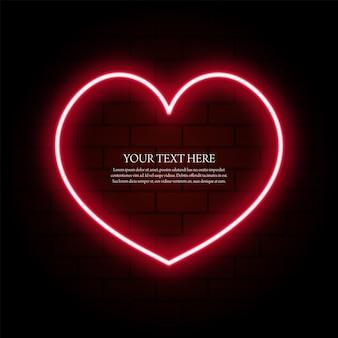 Neon liefde teken op bakstenen muur, dag van de valentijnskaart