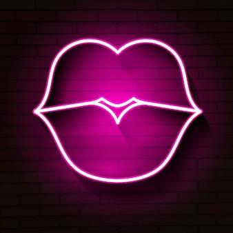 Neon lippen ondertekenen