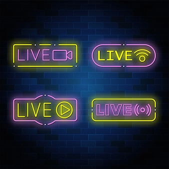 Neon live knoppen collectie