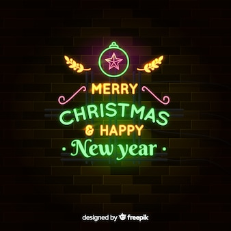 Neon merry christmas & happy new year achtergrond