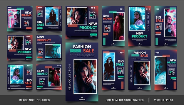 Neon mode verkoop sociale media verhalen en feed post bundel kit banner