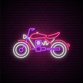 Neon motorfiets teken.