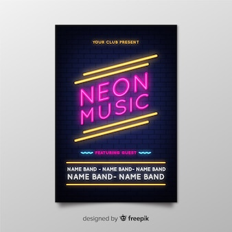 Neon muziek festival poster sjabloon