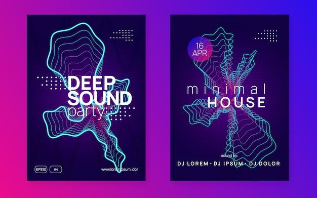 Neon muziek poster set