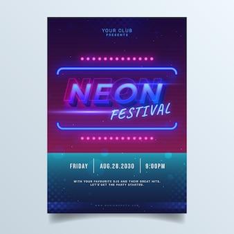 Neon nacht feest poster sjabloon