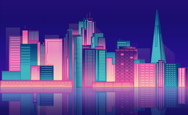 Neon nacht stad wolkenkrabbers.