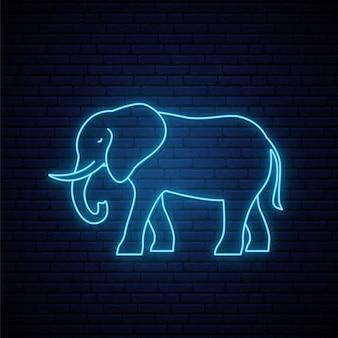 Neon olifant teken.