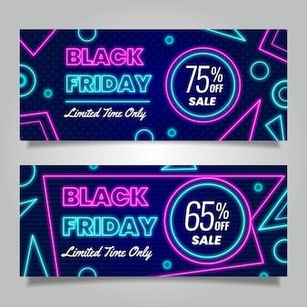 Neon ontwerp zwarte vrijdag banners sjabloon