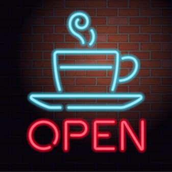 Neon open teken op bakstenen muur