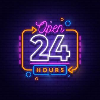 Neon open vierentwintig uur teken