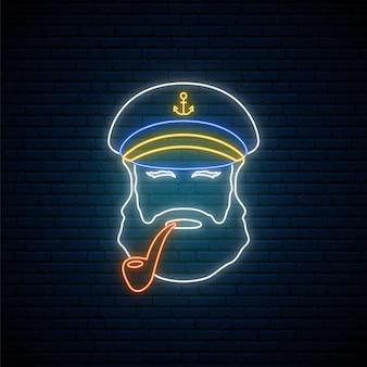 Neon oude matroos kapitein met tabakspijp