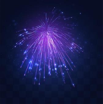 Neon, paarse uitbarsting van vectorvuurwerk op vervangbaar mozaïek
