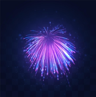 Neon, paarse uitbarsting van vuurwerk op vervangbare mozaïekachtergrond, vakantieconcept