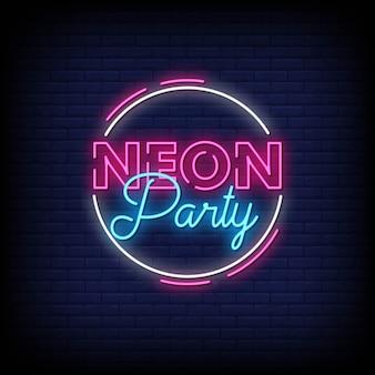 Neon partij neon tekenen stijl tekst