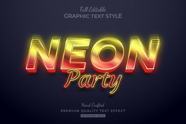 Neon party gradient bewerkbare premium teksteffect lettertypestijl
