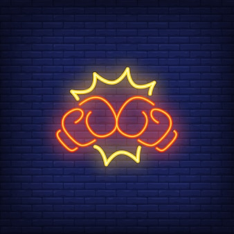 Neon pictogram van boks punch